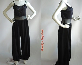 Vintage Stretch Lycra Jumpsuit Black SHEER Waist  /  size 6 8 10 12 / JAZZ Dance Harem Pants/  Curtain Call Costumes USA