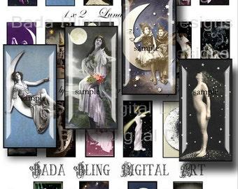 1 x 2, Lunar Lovelies,   INSTANT  Digital Download at Checkout...digital collage sheets, moon. lunar, celestial,astrology