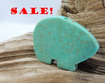 Turquoise color Zuni Bear focal bead Large 28 x 20 mm ON SALE
