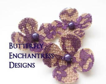 Bridal Hair Accessories, Bridesmaid Wedding Hair Flowers - 3 Natural Burlap Purple Lace Lila Hydrangea Flower Bobby Pins - Pearl Centers