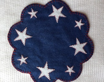 Red White Blue Wool Candlemat Penny Rug With Stars