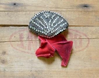 antique vintage  flapper dress  trim piece velvet and rhinestone