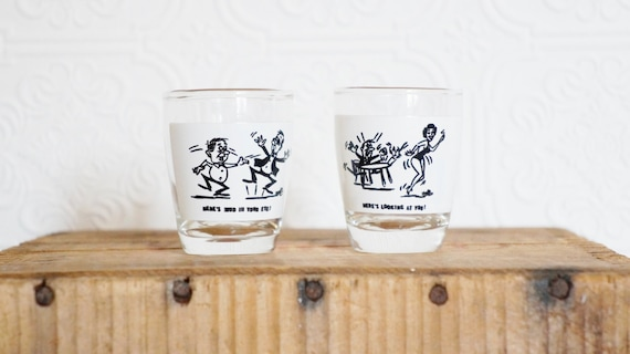 Vintage barware  1950s shot glass set  sexy and funny