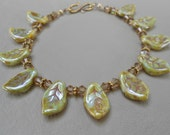 Czech glass & crystal leaf bracelet