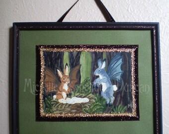 Framed original art print fantasy woodland rabbits bunny winged creatures Easter Oschter Haws Ostara Spring Equinox