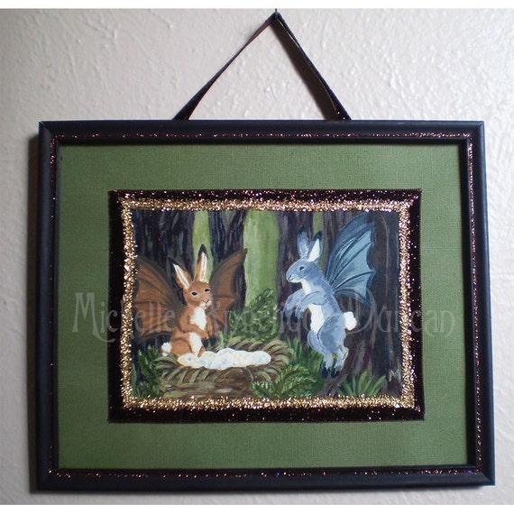 framed rabbit print of original fantasy animal creature woodland bunny art flying hares Easter Ostara
