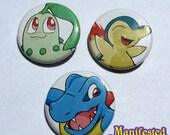 Pokemon Button Set - Chikorita, Cydaquil, Totodile