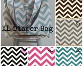 Gray Chevron Diaper Bag Chevron SET - Extra  Large Reverisble 6 Pockets Key Fob Matching Zipper Pouch
