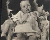 vintage photo little baby Girl on Fur Rug