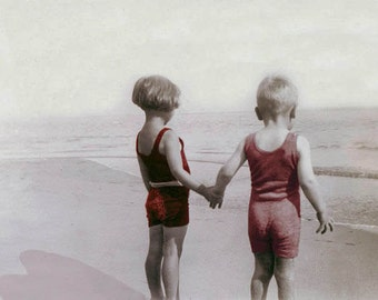 Children Hold Hands at Beach Love Photograph Print Valentine Color Photography Love Sister Brother