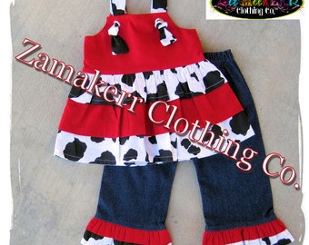 Girl Cow Outfit Custom Boutique Clothing Cow N Red Top Ruffle Pant Set 3 6 9 12 18 24 month size 2t 2 3t 3 4t 4 5t 5 6 7 8