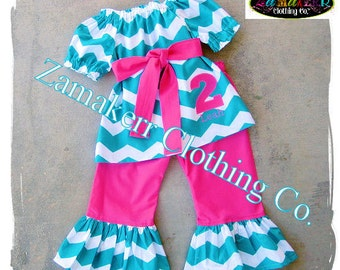Custom Boutique Clothing Girl Chevron Outfit Dress Pant Set 1st Personalized Birthday Gift Pageant Size 6 9 12 18 24 month 2t 3t 4t 5t 6 7 8