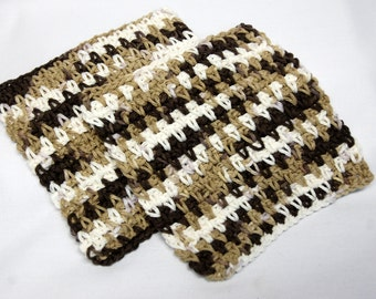 Wash Cloth/Dish Cloth/Trivet Set, Mother's Day Gift, Gift for Mom:  Crocheted Shades of Brown - Ready to Ship
