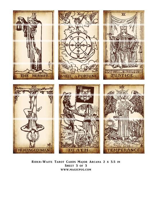 Rider-Waite Printable Tarot Card Set Digital Collage Sheet