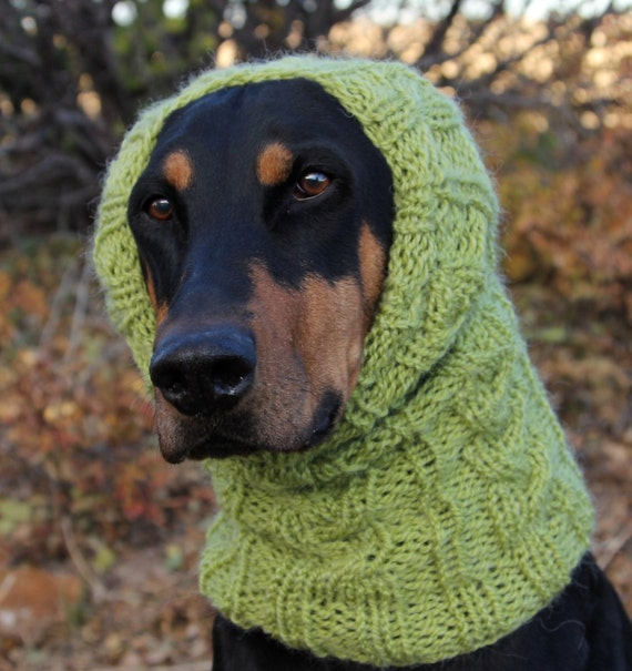 Hand knitted Snood for Dog classic cable pattern L by COZYHORSE