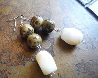 Earthy Neutral Glass Beaded earrings