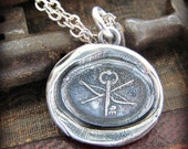 Key and Crossbow Wax Seal Pendant Necklace - Guardianship & Protection
