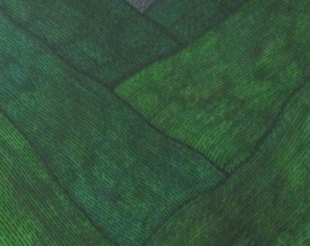 Original Pen and Ink Drawing Green Hills in Wales