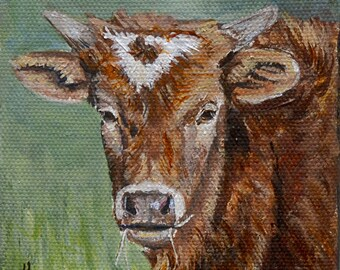 Cow Art Print for Farmhouse Wall decor, country home decor, Texas longhorn cow painting, rustic home decort, Mat OPTION
