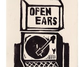 open ears record player card with envelope