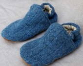 Blue Wool Kids Slippers Leather Bottom Kids Size 1-2  made from recycled materials