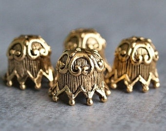 Fluted Ric Rac Antique Gold Plated Pewter 10mm Bead Cap : 4 pc