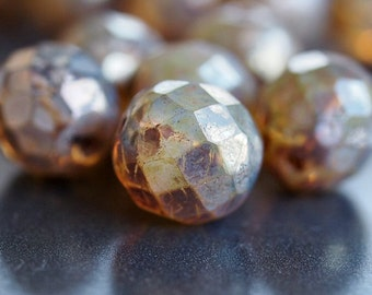 Champagne Picasso Czech Glass Bead 12mm Faceted Round : 6 pc 12mm Czech Champagne Round Bead