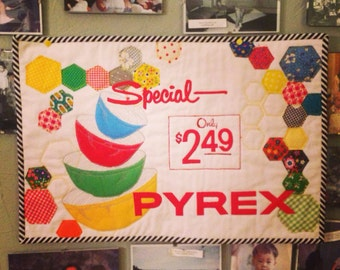 Pyrex Love Mini Quilt Wall Hanging free shipping