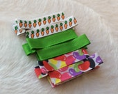 EASTER JELLYBEAN CARROTS  Set of 6 non-slip Fully Lined alligator clip / clippies barrettes Buy 3 sets get 1 free