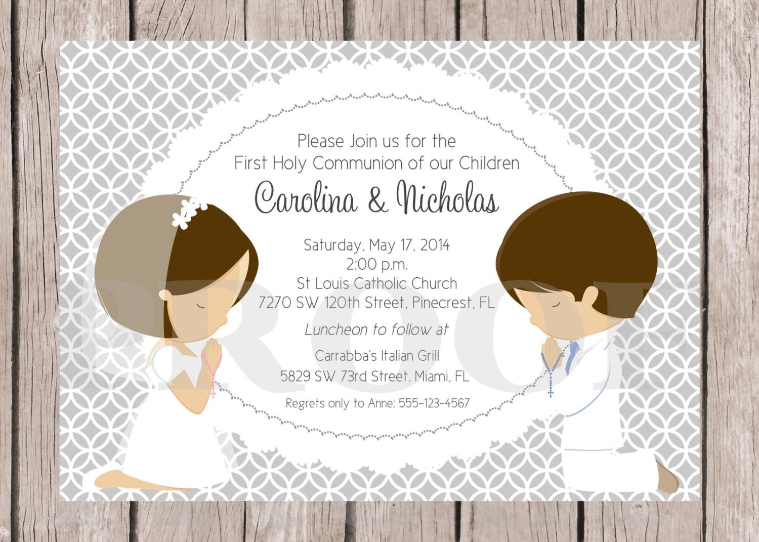 Gutsy image for printable first communion invitations