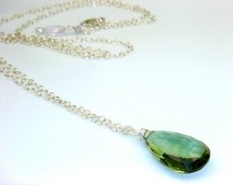 Moss Green Quartz Necklace