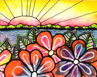 Sunset Print sun art print painting beach waves ocean art  print water beach painting waves print sunrise art