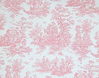 PINK TOILE FABRIC Yardage Fabric by the yard - Pink and white toile print- cotton decor fabric