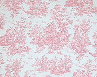 PINK TOILE FABRIC Yardage Fabric by the yard - Pink and white toile print- cotton twill decor fabric