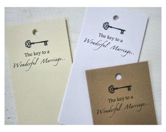 50 Wedding Advice Tags, Key to Wonderful Marriage, Wish Tags, Wishing Well Tags, W001
