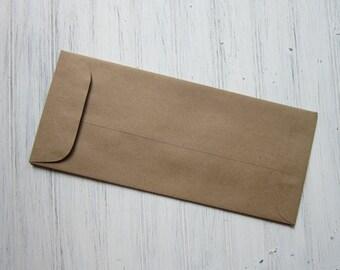 25 Kraft Policy Envelopes, No #10 Envelopes, Brown Bag Envelopes, Large Envelopes, Silverware Holder, DIY wedding envelopes