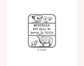 Chickens and Sheep Farm Custom Return Address Rubber Stamp AD245