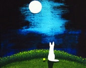 White German Shepherd Dog art PRINT of Todd Young painting MOON LIGHT