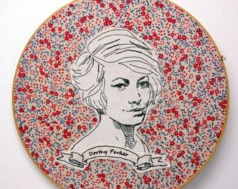 Dorothy Parker Hand Embroidered Portrait