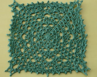 """New Handmade Crocheted """"17"""" Doily in Forest Green 4.75"""" x 4.75"""""""