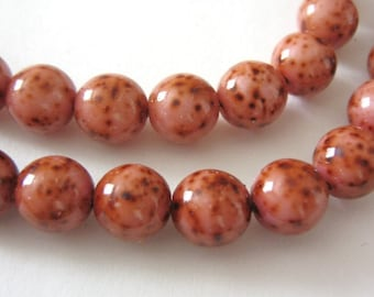 Pink Picasso Czech Glass Beads 8mm Round Druk 25pcs