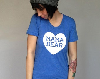 Mama Bear with Heart Women's Heather Lake Blue TShirt with White print - Family Photos, Gift for Mom, Gift for her