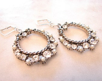 Vintage Mid Century Hoop Earrings Pearls Rhinestones Circles