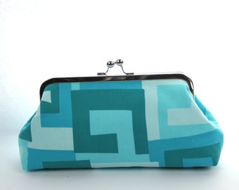 Personalized Bridesmaid Clutch Aqua Turquoise Geometric  Bridal Party Gift