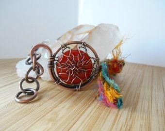 Carnelian Dreamcatcher Bracelet Sari Silk Ribbon Copper Wire Wrapped Agate Boho Bracelet Wire Hippie Bracelet Wire Wrapped Jewelry Handmade