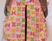 Unique Fitted Carseat canopy  Sweet Butterfly with pink Dimple Dot Minky.