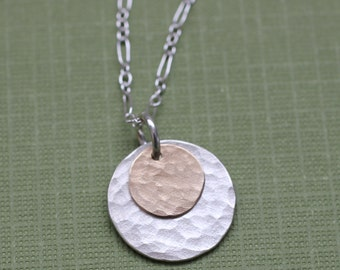 Silver and Gold Hammered Necklace