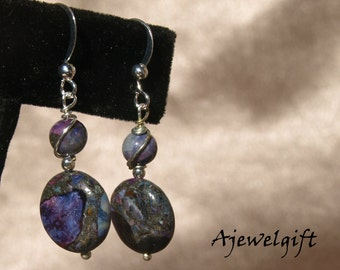 Stunning Purple Mosaic Turquoise Earrings 13056
