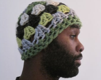 """grey chartreuse hat crocheted chunky acrylic openwork """"lawn"""""""