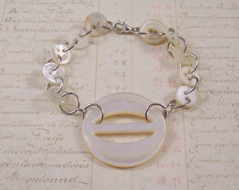 Vintage Buckle and Button Bracelet - MOP Mother of Pearl Button Bracelet - Vintage Button Jewelry - White Buckle Bracelet